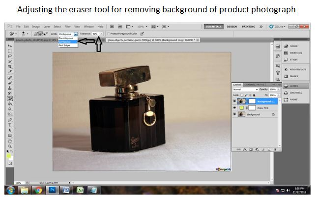 Remove background with Eraser tool
