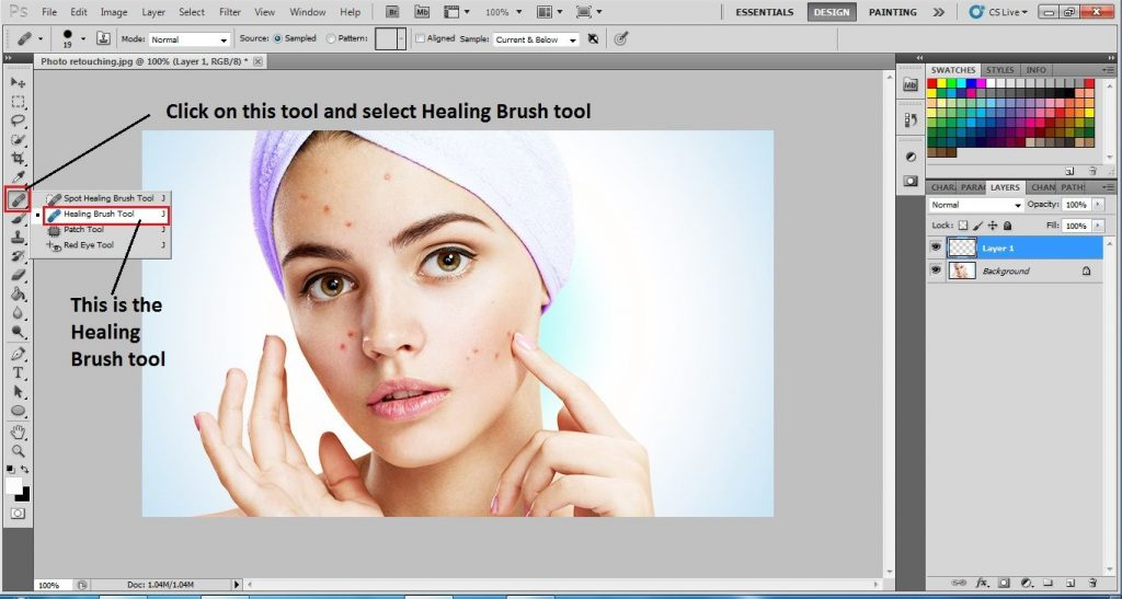 Choose the Healing Brush Tool