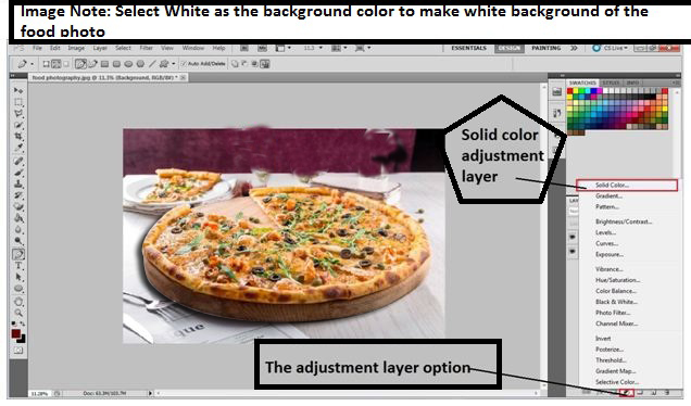 Convert photo background to white of Food photography