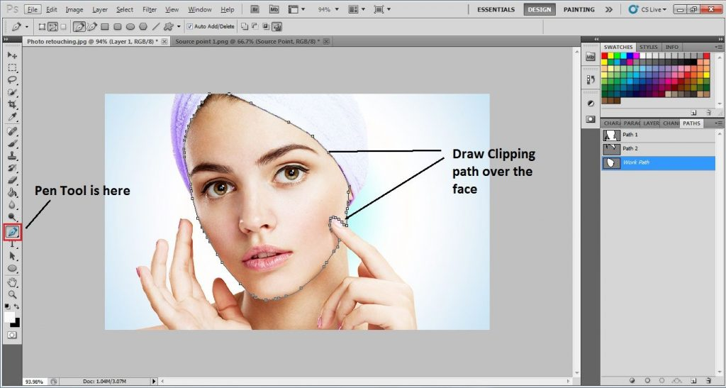 Draw clipping path using Pen Tool