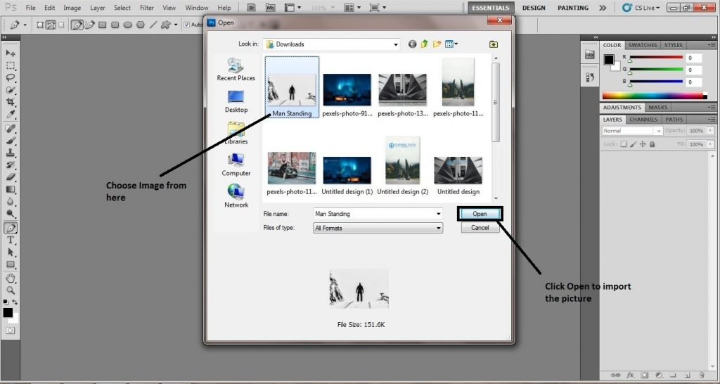 Importing the Image in Photoshop