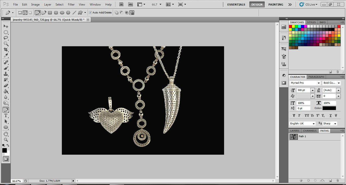 Edit Jewelry in Photoshop, Background Removal
