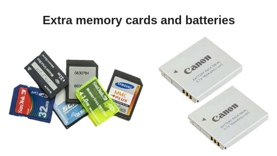 Extra memory cards and batteries for wedding photography