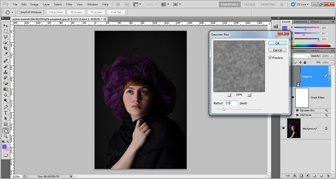 How to add grainy effect in photoshop CS5