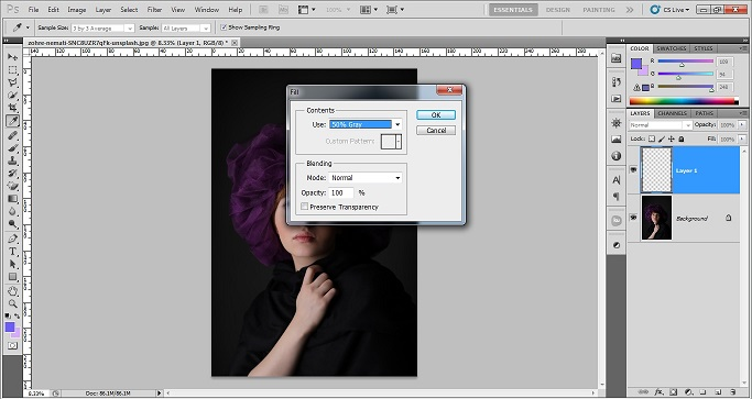 Technique of adding grainy effect in Photoshop