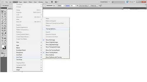Import Into Illustrator And Open Live Trace