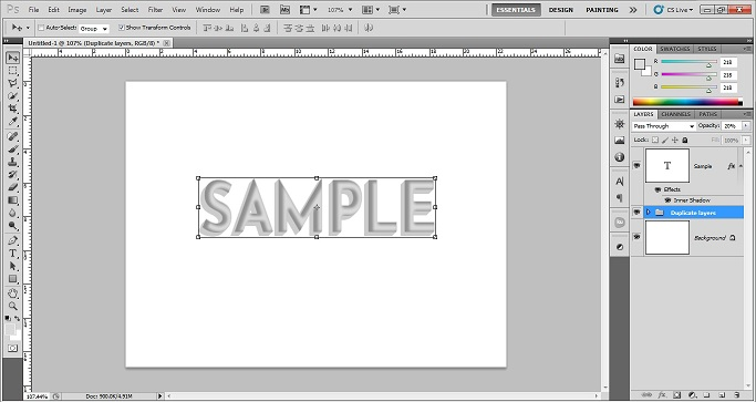 Make a group of duplicate layers and reduce opacity of the 3d text