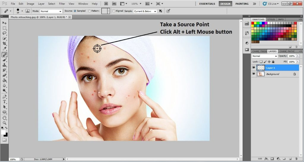 Selecting the Source Point, Using the Healing Brush Tool