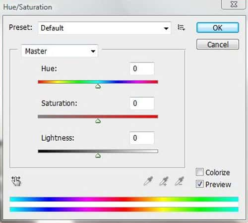 Use Hue and Saturation Tool