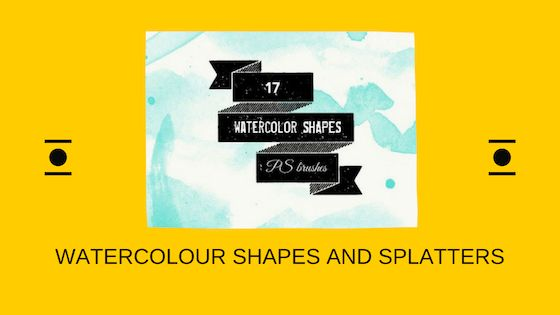 Watercolour shapes and splatters