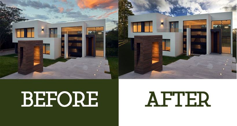 before after house image Photoshop path