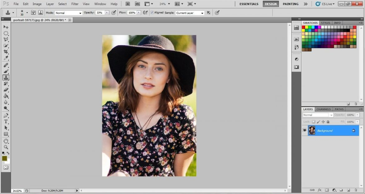 Opening a photo in Photoshop
