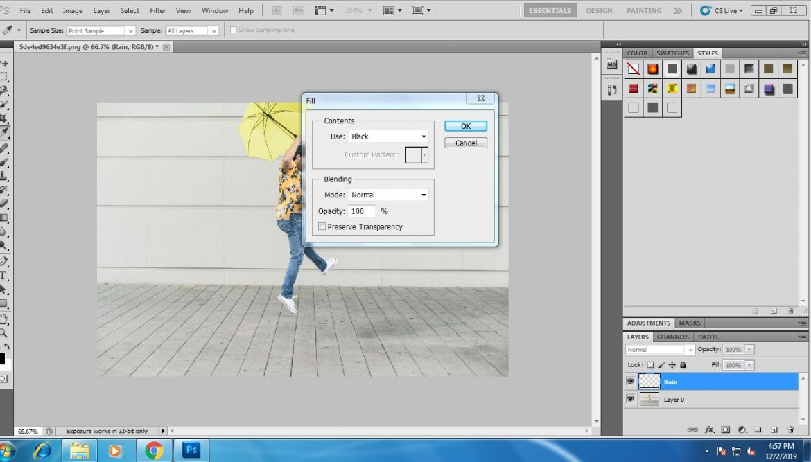 how to add rain effect in photoshop
