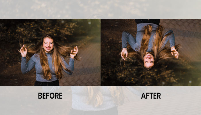 upside down photography before after